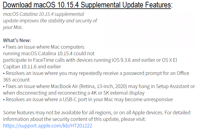 Download macOS 10.15.4 Supplemental Update Features Changelog