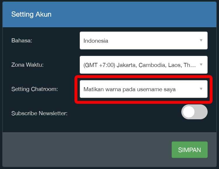 seting chat indodax