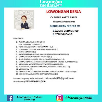Lowongan Kerja Medan Terbaru Juni 2020 di CV Mitra Karya Abadi Sebagai Staff Gudang & Admin