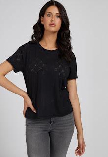 Guess Jeans - Дамски Тениска с шарка на монограм