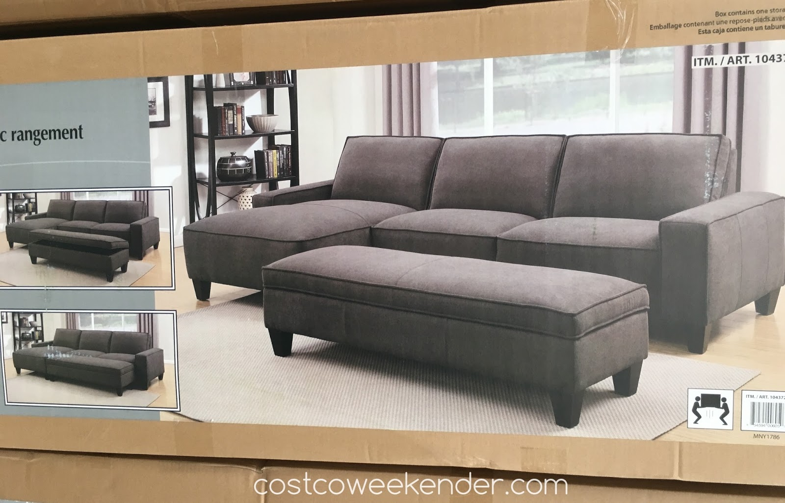 Chaise Sofa With Ottoman Costco High Back Sofas Sydney Storage Weekender