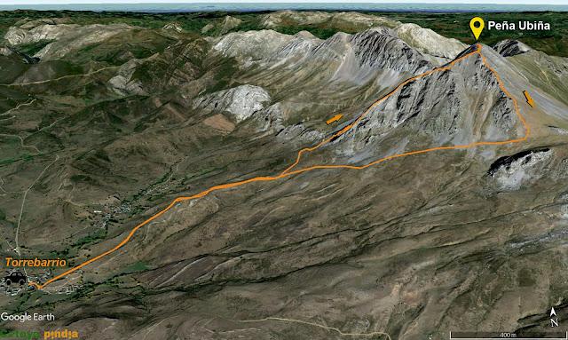 Mapa de la ruta a Peña Ubiña por el espolón oeste
