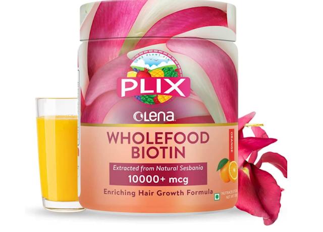 Olena Plant-Based Biotin, 10000mcg+, High Potency, Advanced Hair Growth, Healthy Skin & Nails, 15 Servings (Orange Burst) (Single Pack)