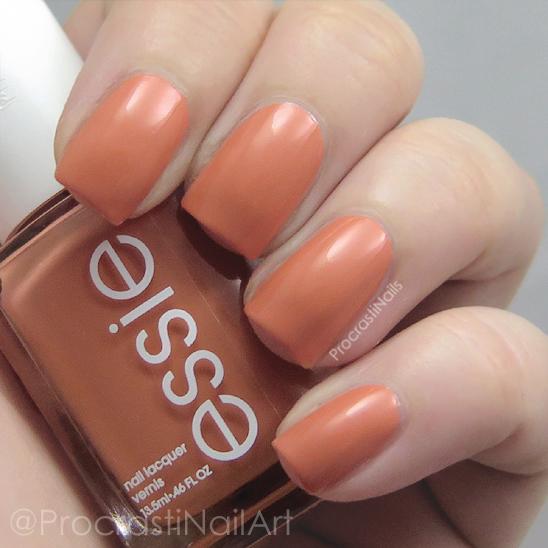 Swatch of the apricot orange nail polish Essie Taj-Ma-Haul