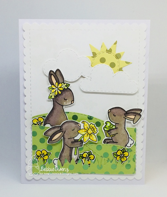 Debbie's card features Woodland Spring, Woodland Picnic, Hop Into Spring, Sky Scene Builder, Frames & Flags, and Land Borders by Newton's Nook Designs; #newtonsnook