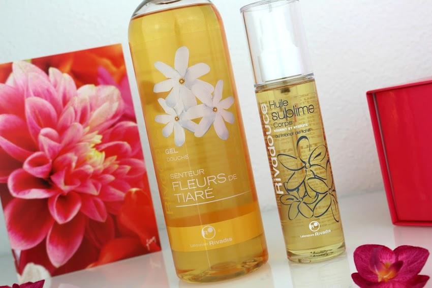 Swap blog beauté Rivadouce gel douche senteur fleurs de tiaré et huile sublime au monoï de Tahiti