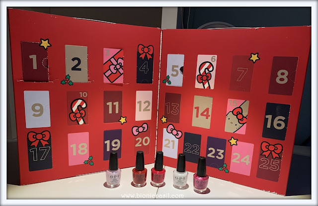 Feline Fiction on Fridays #112 at Amber's Library ©BionicBasil® Hello Kitty advent calendar with OPI Nail Polish Minis