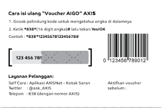 Cara Memasukkan Kode Voucher Kuota Internet Axis Aigo