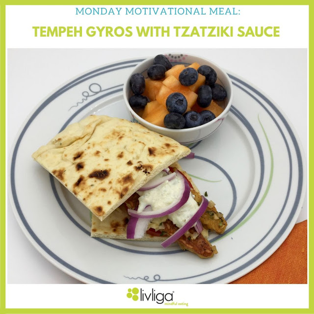 Tempeh Gyros with Tzatziki Sauce on Vivente Portion Control Dinner Plate