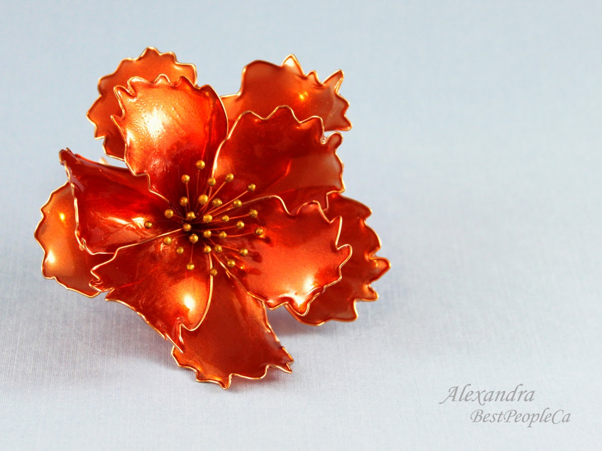 Hair pin Red Flower
