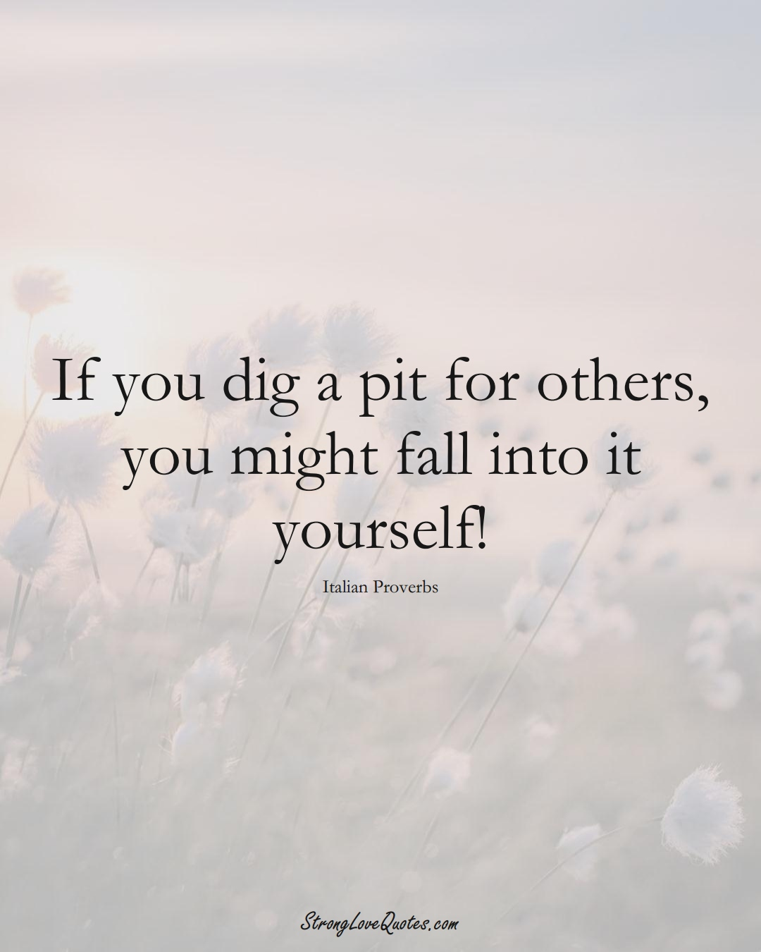 If you dig a pit for others, you might fall into it yourself! (Italian Sayings);  #EuropeanSayings
