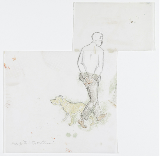 Francis Alÿs Untitled (study for last clown), 2001 Graphite, paint and tape on vellum 35.2 x 34.9 cm
