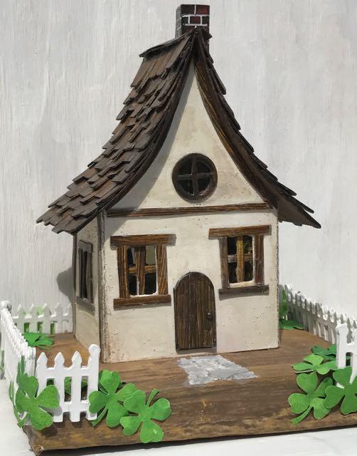 Irish Cottage St. Patrick's Day Putz house