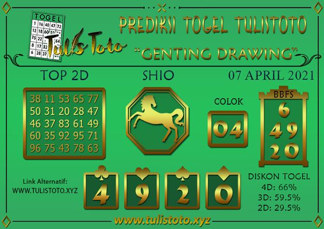Prediksi Togel GENTING DRAWING TULISTOTO 07 APRIL 2021