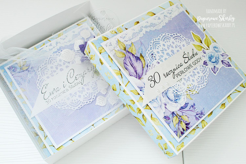 scrapbooking cardmaking handmade rękodzieło kartka kartki karteczka w pudełku rocznica ślubu perłowe gody 30 rocznica ślubu okolicznościowa gratulacyjna prezent