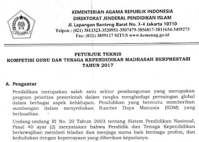 Download JUKLAS Petunjuk Pelaksanaan Kompetisi Guru, Kepala Madrasah, Pengwas Madrasah,Laboran dan Pustakawan Berprestasi Tahun 2017