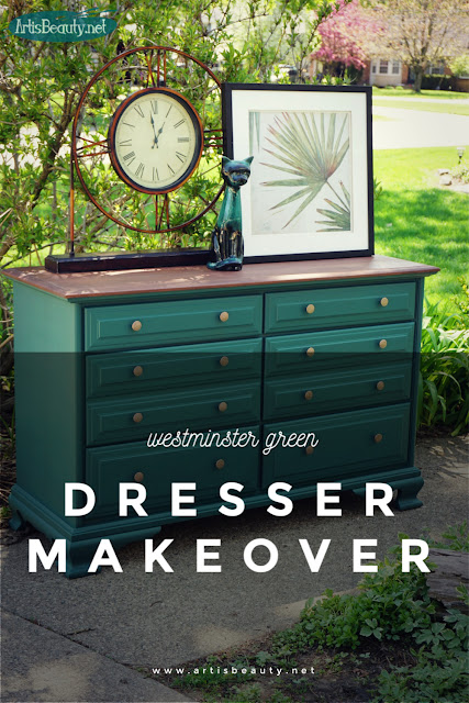 westminster green long vintage dresser makeover diy general finishes milk paint and gel stain