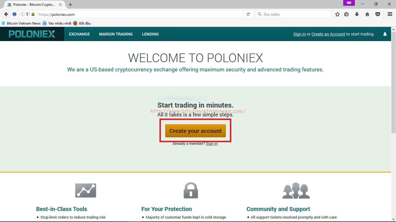 Hướng dẫn trade coin trên Poloniex