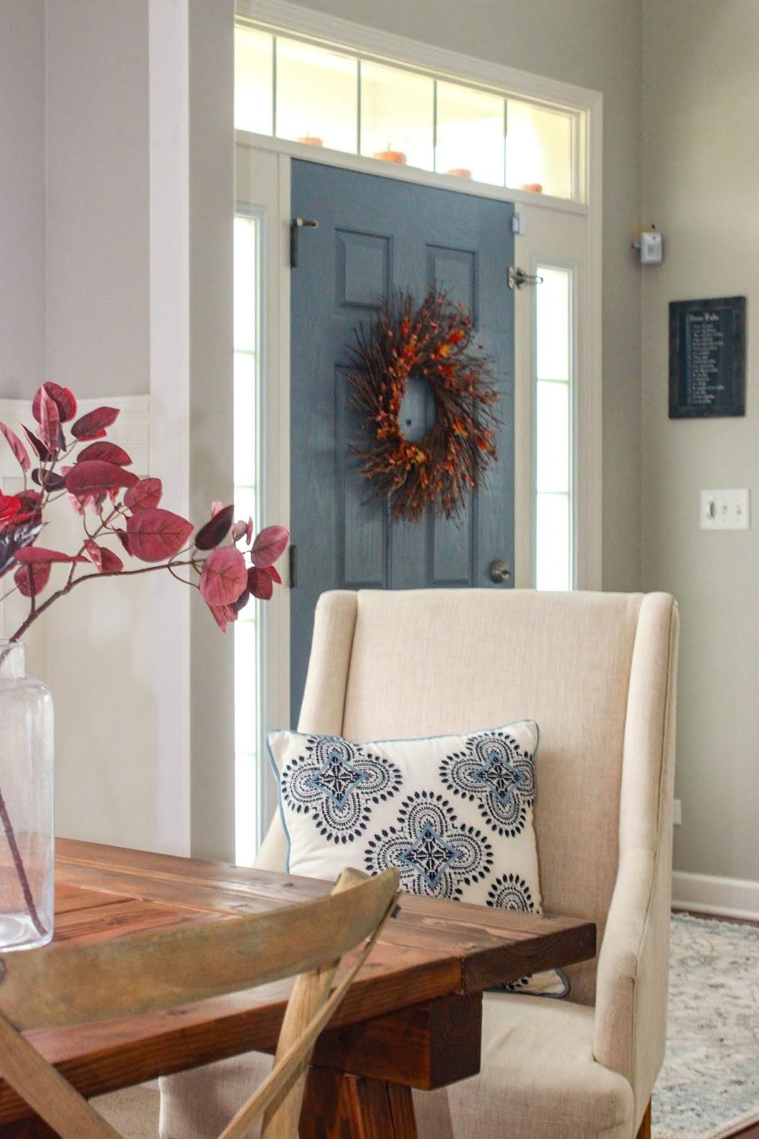 blue painted interior door