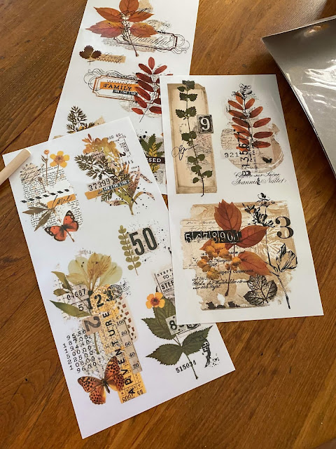 Photo of a fall small decor transfer package with three sheets of designs.
