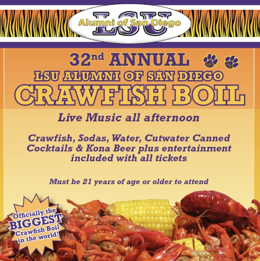Save on passes & enter to win tickets to the LSU Alumni of San Diego Crawfish Boil - July 24!
