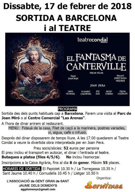 Esguard de Dona - Sortida al Teatre - El Fantasma de Canterville - Reserves fins el 8 de gener - Sant Jaume dels Domenys