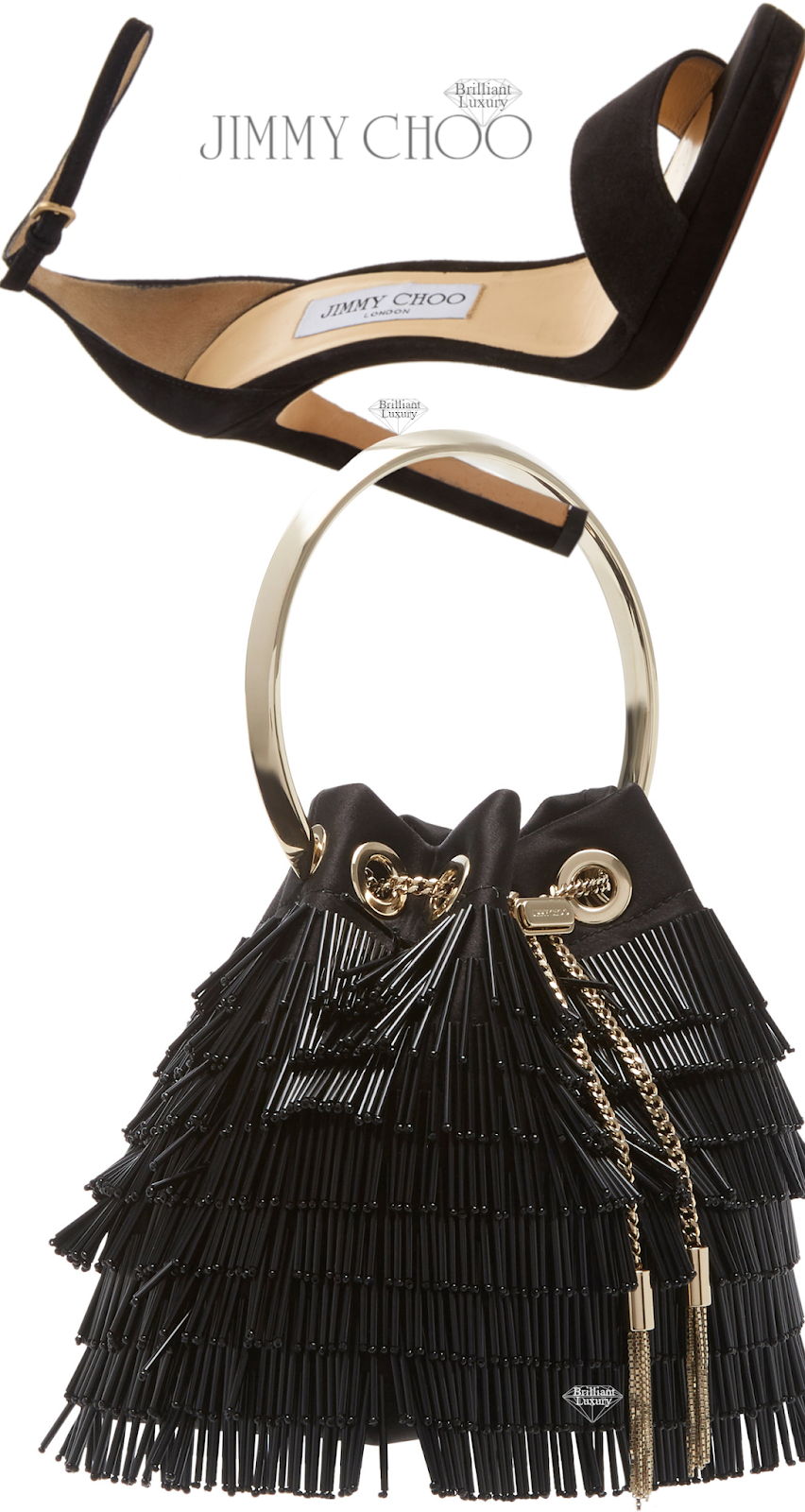 Perfect Pairings♦Jimmy Choo Misty Black Suede Platform Sandals and Bon Bon Fringed Black Crystal-Embellished Satin Bag #brilliantluxury