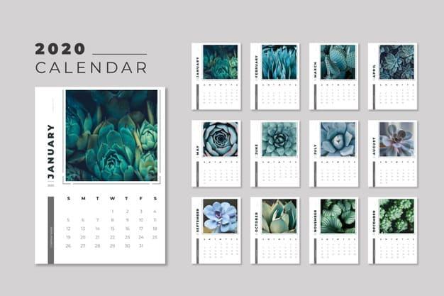 calendario editable 2020 floral gratis