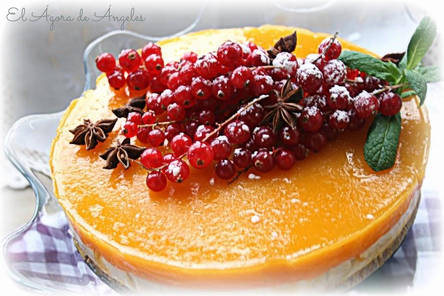 Tarta mousse de turrón,gelatina de mango,Navidad