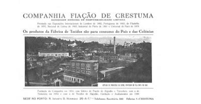 Ilustração da antiga fábrica de fiação de Crestuma