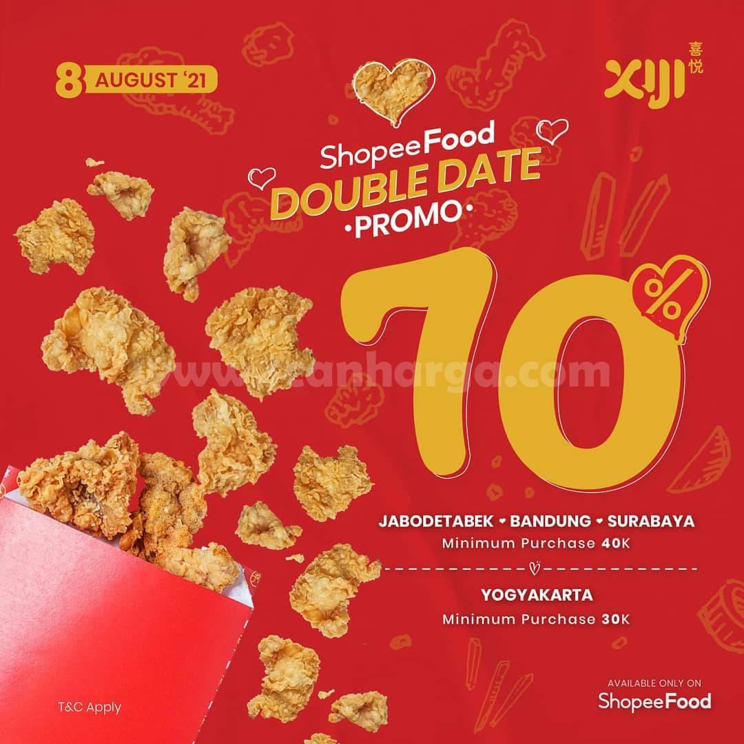 XIJI Promo DOUBLE DATE Diskon 70% via Shopee Food