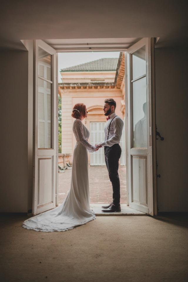 vestido color nude - editorial boda de invierno