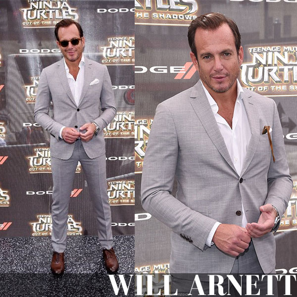 Will Arnett in light grey tailored suit salvatore ferragamo formal red carpet outfit