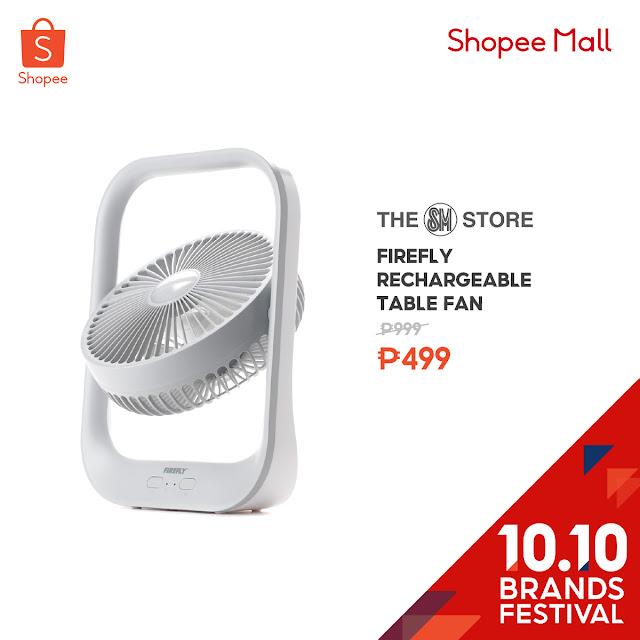 Firefly Rechargeable Table Fan at 50% Off on Shopee's 10.10 Brands Festival