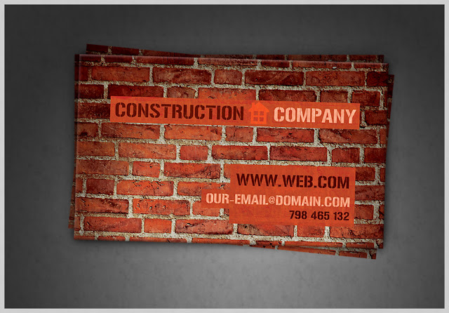 Construction Company Business Card PSD