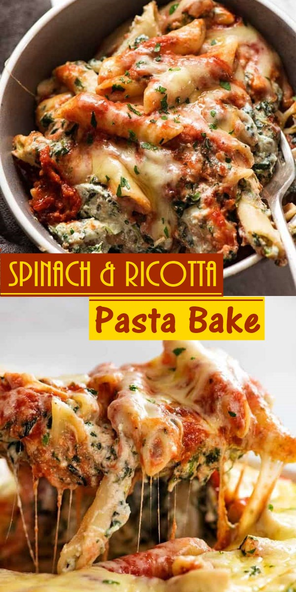 Spinach & Ricotta Pasta Bake #pastarecipes