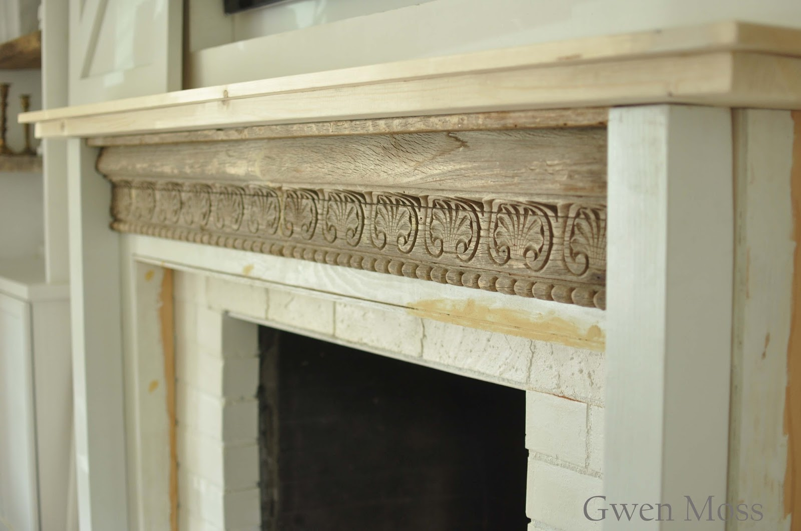 Gwen moss my diy cottage style fireplace mantel reveal - Rockabilly mantel ...