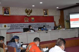 Pj Gubernur Jambi Menerima Kunker Komisi IX DPR RI Terkait Vaksinasi Covid-19.