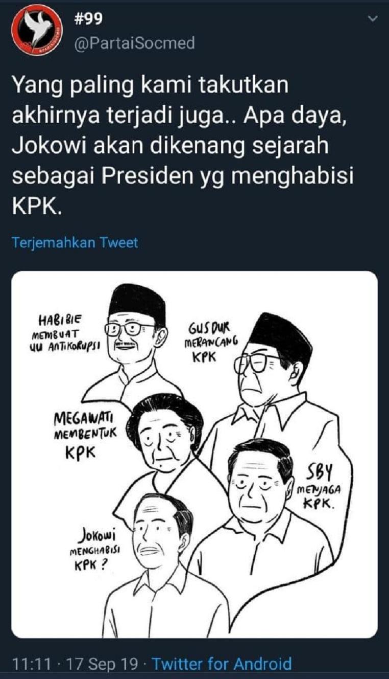 Pendukung Militan Jokowi Akhirnya Meratapi Kenyataan: Jokowi Presiden Yang Menghabisi KPK