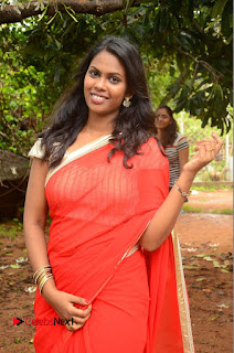 Actress Rishika Pictures in Red Saree at Lovers Park Movie Opening  0001