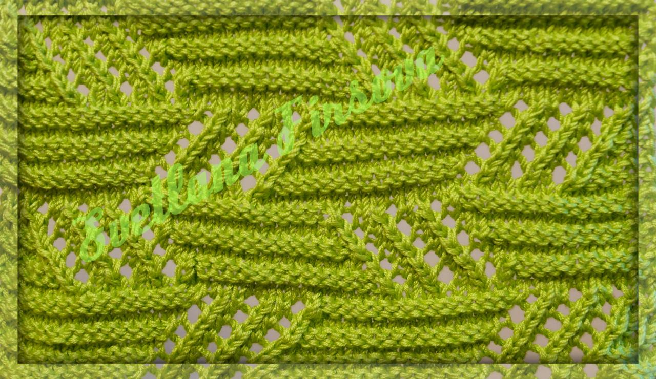 схема вязания узора спицами зигзаг