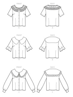 Line Drawings for McCall's 8180 Button Front Big Collar Shirt