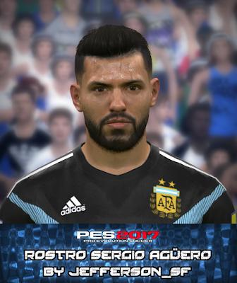 """PES 2017 Faces Sergio """"Kun"""" Aguero by FaceEditor Jefferson_SF"""