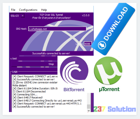How to configure TCP Over SSL Tunnel to work with uTorrent