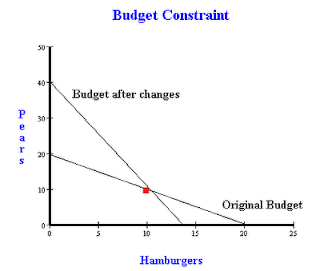 Budget Constraint graph with changes in prices and income
