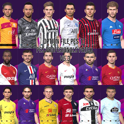 PES 2017 Option File for PES Professionals Patch 2017 Season 2019/2020