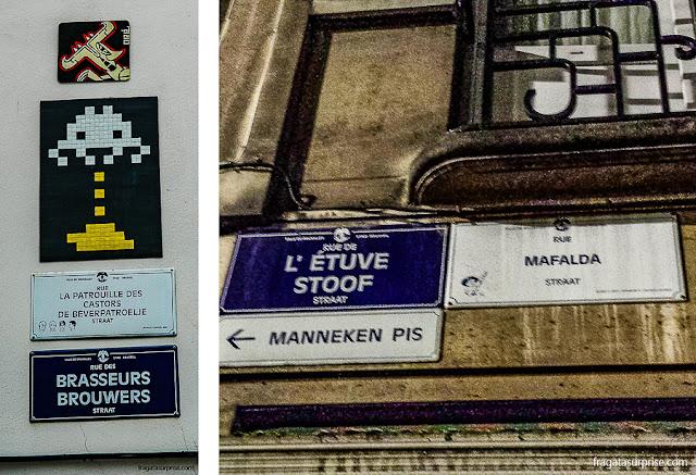 Placas bilíngues com nomes de ruas em Bruxelas