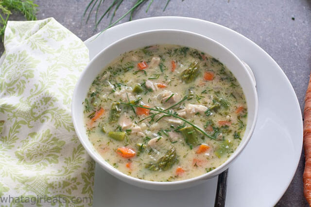 Greek Spring Soup by What a Girl Eats (Easy Recipe Idea For Leftover Cooked Chicken)