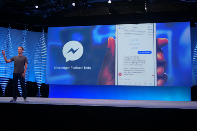 During F8 Developer Conference, Facebook launches a messenger platform with chatbots.