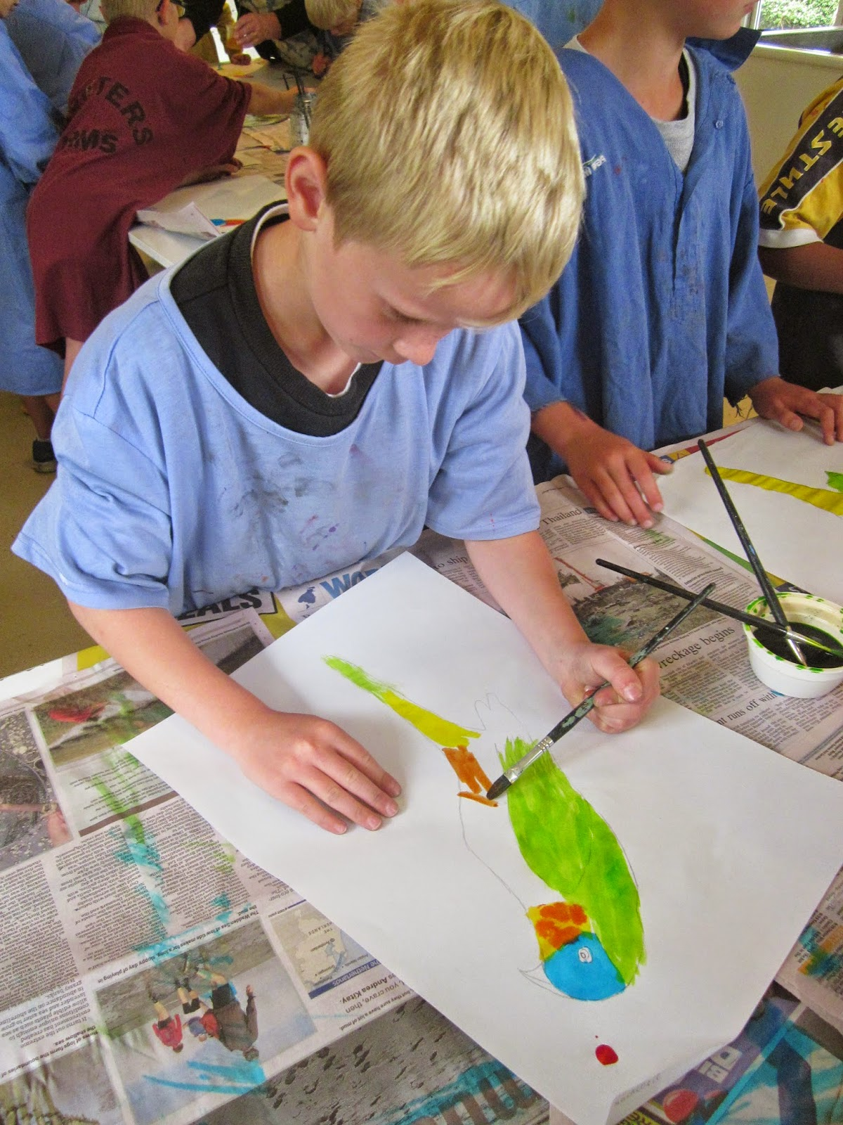Time this year to paint a colourful parrot with a forest background we examined photos of parrots taking particular notice of the colours and patterns